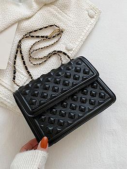 Euro Style Geometric  Pure Color Black Chain Shoulder Bags