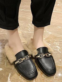 Winter Plush Square Toe Slip On Shoes