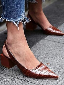 Pointed Toe Women Black Chunky Heel Sandals