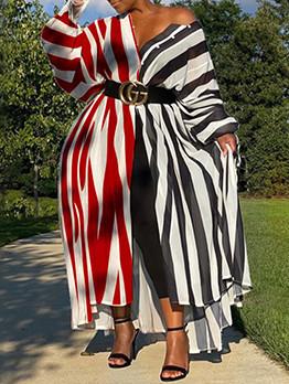 Fashion Contrast Color Striped Plus Size Maxi Dresses