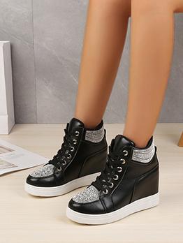 Rhinestone Fashion Lace Up Wedge Elevator Shoes